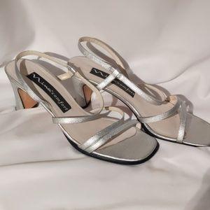 Nina Silver strappy heels